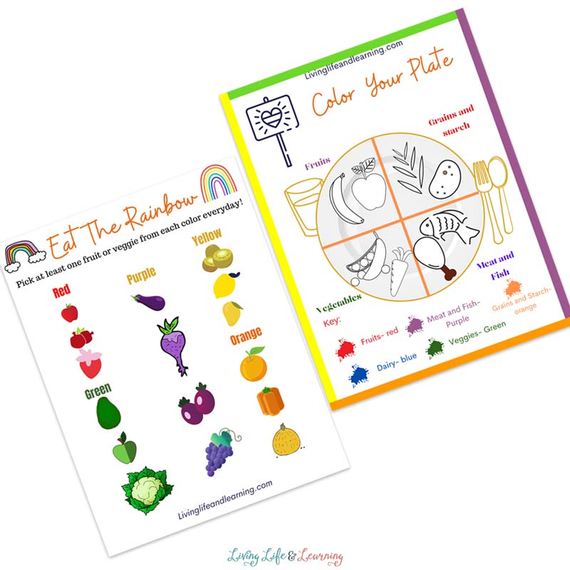 Learn about food groups with the eat a rainbow worksheets