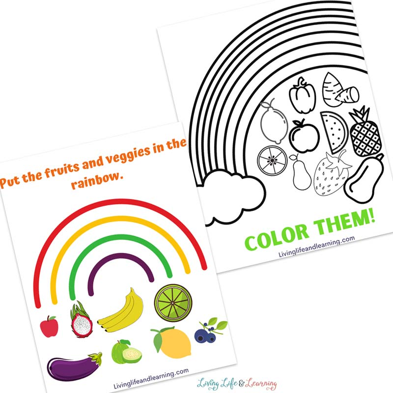 Color healthy foods as part of the eat a rainbow worksheet pack