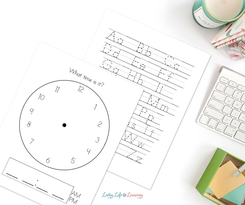 clock and alphabet worksheet in the My Calendar printable