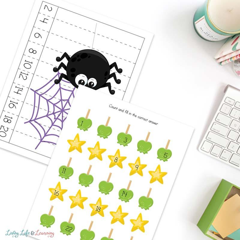 Halloween worksheets for kindergartners