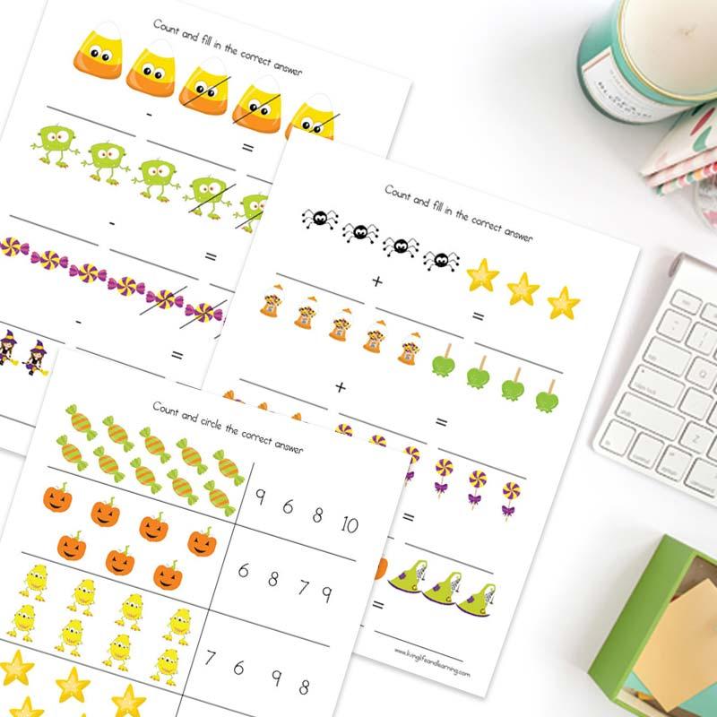 math Halloween worksheets