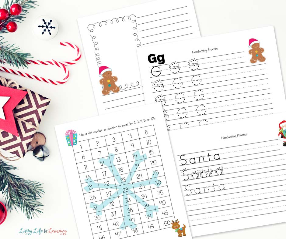 Christmas Kindergarten Worksheets for writing and math
