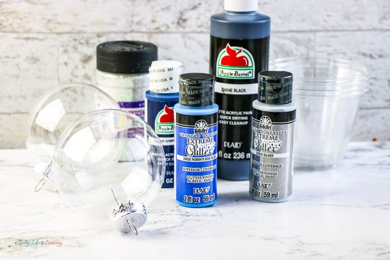 Supplies for DIY galaxy ornaments