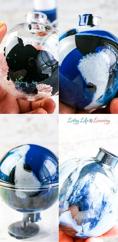 Painting DIY galaxy ornament