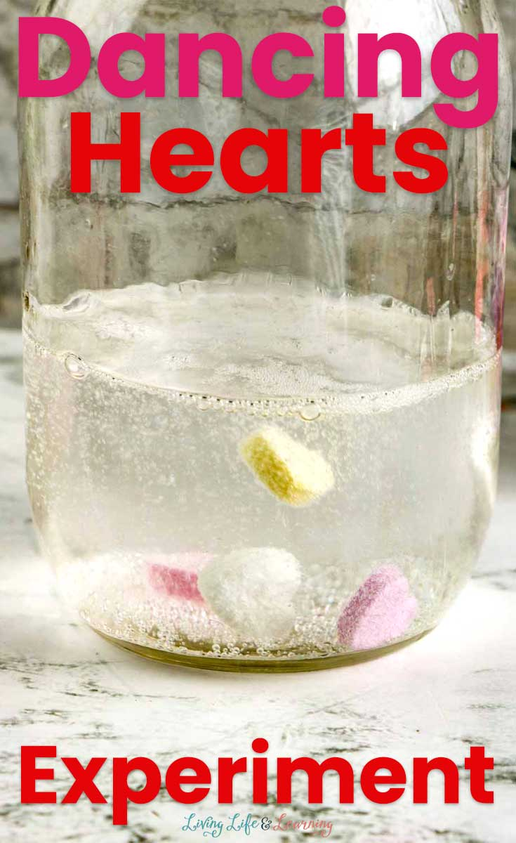 A jar showing the dancing hearts experiment in action.
