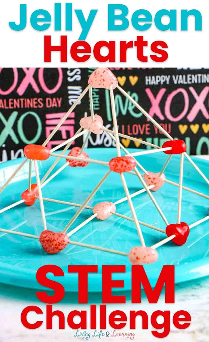3-D pyramid STEM challenge project made with jelly bean hearts and toothpicks.