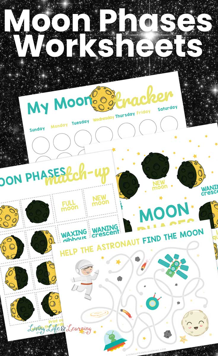 Moon phases worksheet pack that comes with coloring pages, match games, a moon tracker, and more.
