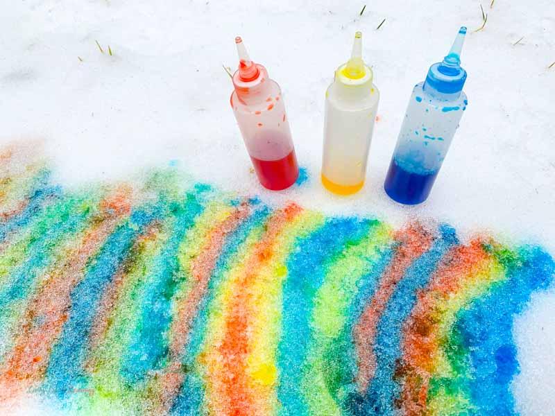 snow painting activity