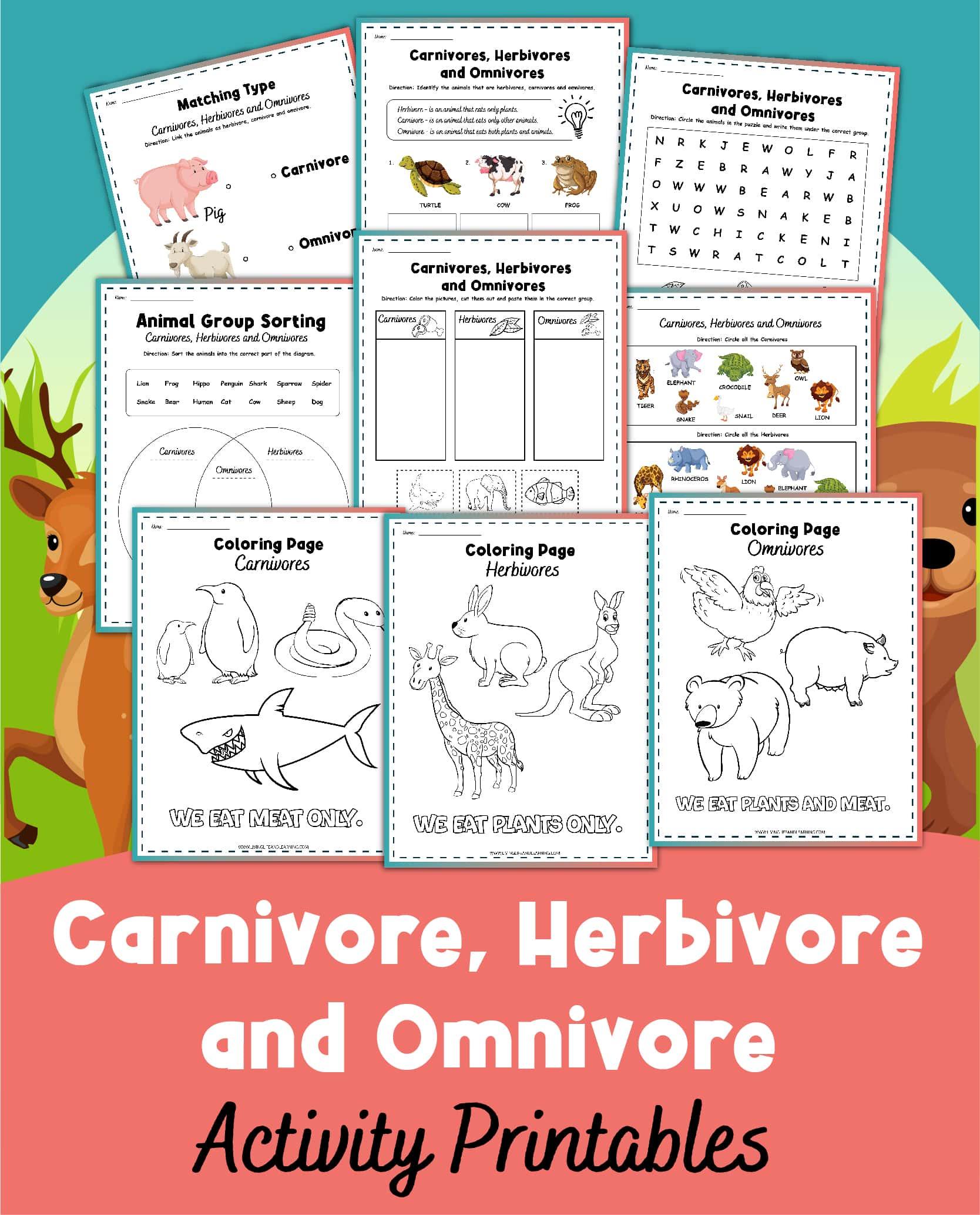 Carnivore, Herbivore, and Omnivore Worksheets