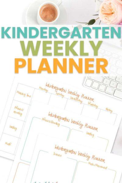 Weekly Planner for Kindergarten