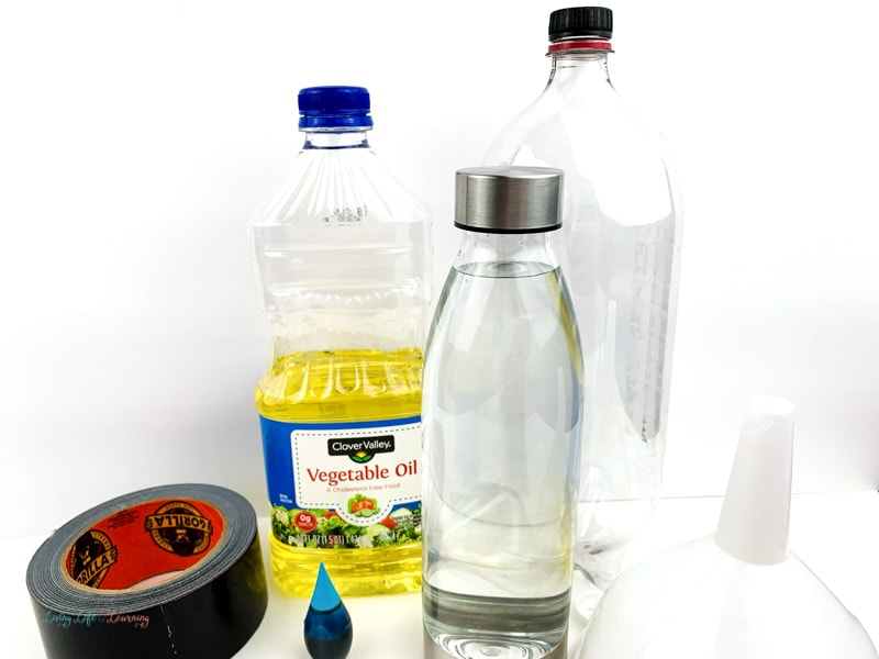supplies for Ocean in a Bottle Experiment
