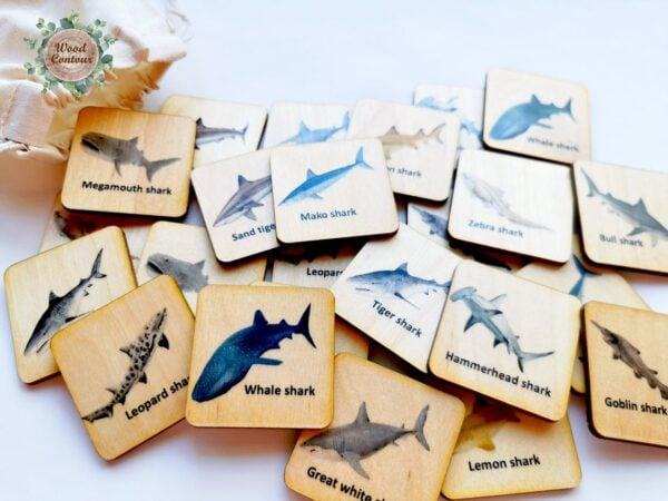 shark Montessori matching tiles
