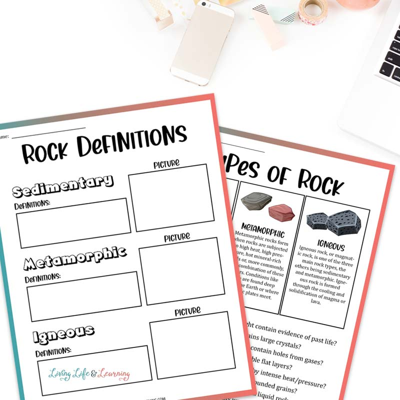types of rocks printables to show the 3 rock definitions on top of a desk with a keyboard