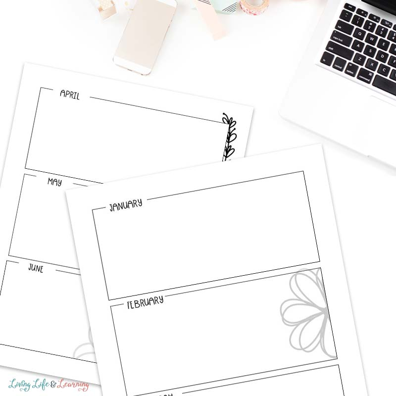 Yearly planning calendar printable