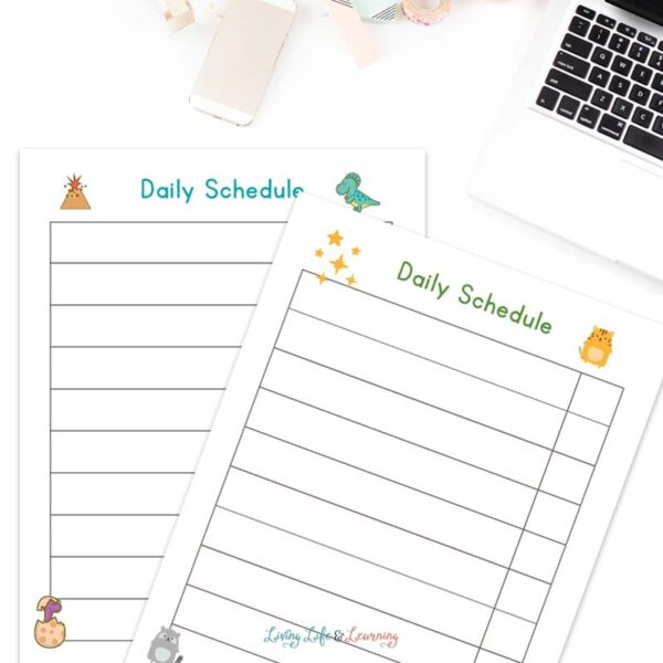 Homeschool Schedule for kindergarten in a dinosaur and animal theme on a desk