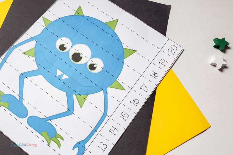 Blue Monster Math Worksheets for Preschool to show counting up to 20