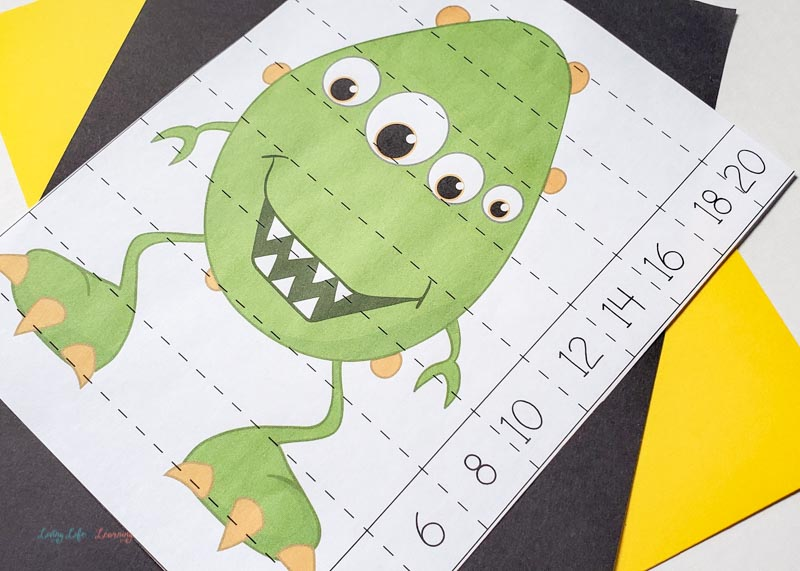 Green monster number puzzle on a desk